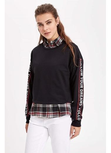 DeFacto Slogan Baskılı Şerit Detaylı Sweatshirt Siyah